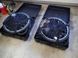 Bikes in their boxes