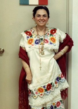Mom in Yucatecan outfit