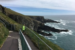 Joy contemplates Mizen Head