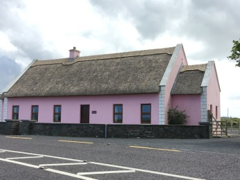 pink! and thatch roof