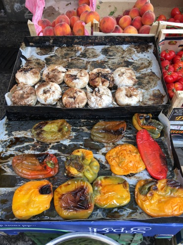 Food markets - grilled garlic and peppers
