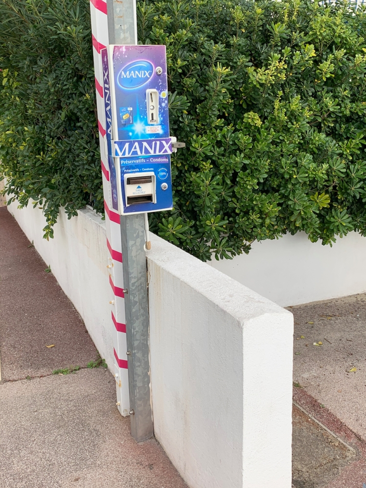 Condom dispenser on a street corner